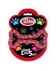 PET NOVA DOG LIFE STYLE Šuns virvė, kaulas 20 cm, raudona, mėtų aromatas
