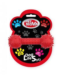 PET NOVA DOG LIFE STYLE Hantelis su varpeliu 14 cm, raudonas, jautienos skonis