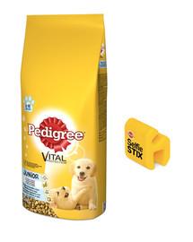 PEDIGREE Junior 15kg (średnie rasy) - sucha karma dla psów z kurczakiem i ryżem + SelfieSTIX GRATIS