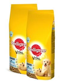 PEDIGREE Junior 30 kg ( 2 x 15kg )vidutinės veislės - sausas šunų maistas su vištiena ir ryžiais
