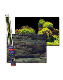 AQUA NOVA Dvipusis akvariumo fonas S 60x30cm uolienos / augalai