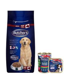 BUTCHER'S Blue+ su jautiena 15 kg + 2 x šlapias maistas NEMOKAMAI