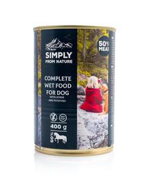 SIMPLY FROM NATURE Šlapias šunų maistas Arkliena su bulvėmis 6 x 400 g