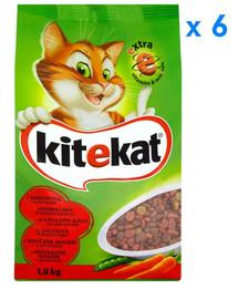 KITEKAT sausas maistas katėms su jautiena ir daržovėmis 1.8 kg x6