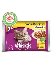 Whiskas Senior konservai  4x100g Naminių paukščių skoniai - šlapias maistas katėms želė (vištiena, antiena, paukštiena, kalakutiena)
