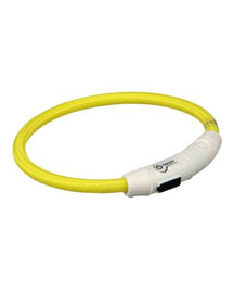 Trixie šviečiantis antkaklis su USB, L–XL 65 cm / 7 mm, geltonas