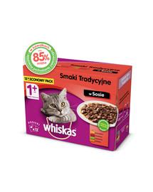 WHISKAS Suaugusiųjų konservai 12x100g Tradiciniai skoniai - šlapias maistas katėms padaže (vištiena, jautiena, aviena, paukštiena)