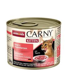 Animonda Carny Kitten su jautiena ir kalakutų širdimis 200 g