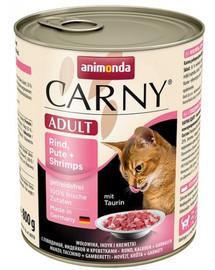 ANIMONDA Carny Adult konservai katėms su jautiena, kalakutiena ir krevetėmis 800 g