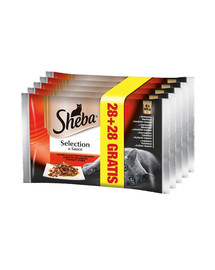SHEBA Selection in Sauce Mix su mėsa 85 g 4 + 4 GRATIS x7