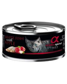 ALPHA SPIRIT konservai katėms su balta žuvimi ir obuoliais 85 g