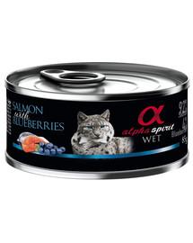 ALPHA SPIRIT konservai katėms su lašiša ir mėlynėmis 85 g