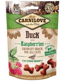 CARNILOVE Crunchy snacks traškūs skanėstai su antiena ir avietėmis 50 g