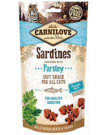 CARNILOVE Semi moist snacks švelnus skanėstai su sardinėmis ir petražolėmis 50 g