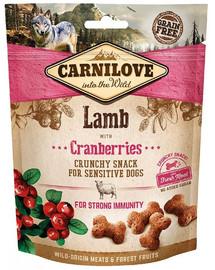 CARNILOVE Crunchy snacks traškūs skanėstai su aviena ir spanguolėmis 200 g