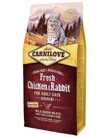 CARNILOVE Adult Gourmand fresh vištiena ir triušis 2 kg
