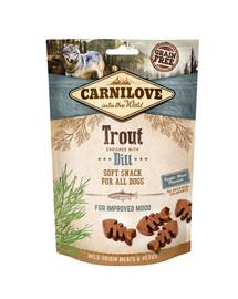 CARNILOVE Semi moist snacks švelnus  skanėstai su upėtakiais ir krapais 200 g