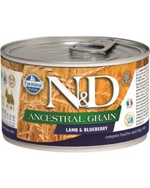 FARMINA N&D Dog Ancestral Grain Lamb & Blueberry Mini konservai 140 g