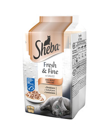 SHEBA MINI MIX konservai su mėsa 12x6x50g