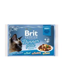 BRIT Premium Cat pouch gravy fillet Dinner plate konservų rinkinys padaže katėms 340 g (4x85 g)