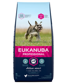 EUKANUBA PROFESSIONAL Active Adult Small Breed praturtintas sviežia vištiena 18 kg