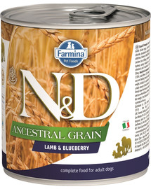 FARMINA N&D Dog Ancestral Grain Lamb & Blueberry konservai 285 g