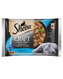 SHEBA saszetka 4x85g Craft Collection Smaki Rybne - šlapias kačių maistas padaže (su lašiša, tunu, balta žuvimi, menkėmis)