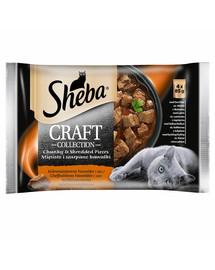 SHEBA pakeliai 4x85g Craft Collection Sultingi skoniai - šlapias kačių maistas padaže (jautiena, ėriena, kalakutiena, vištiena)