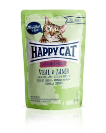 HAPPY CAT All Meat Adult Sterilised Kalb & Lamm 85 g ėriena ir veršiena