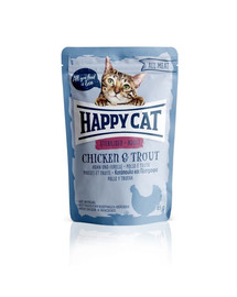 HAPPY CAT All Meat Adult Sterilised Huhn & Forelle 85 g vištiena ir upėtakis