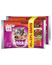 WHISKAS Junior pakėliai 4x100g Tradiciniai skoniai- šlapias kačių maistas padažu (vištiena, jautiena, ėriena, triušiena) 1 + 1 50%