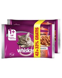 WHISKAS Adult Potrawka 4x85g Tradiciniai skoniai - šlapias maistas katėms želėje (su vištiena, jautiena, ėriena, paukštiena) 1 + 1 už 50%