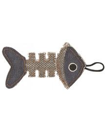 BARRY KING Žuvies griaučiai pagaminti iš stipraus pilko / tamsiai mėlyno audinio 14 x 7,5 cm