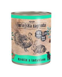 WIEJSKA ZAGRODA Triušis su kalakutiena 800 g  šunų maistas be grūdų