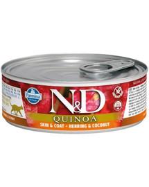 FARMINA N&D Cat Quinoa Herring & coconut Skin&Coat 80 g karma dla kotów na poprawę stanu sierści