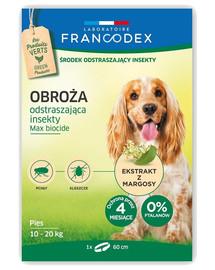 FRANCODEX Antkaklis nuo vabzdžių dideliems šunims, sveriantiems nuo 10 kg iki č0 kg, - 4 mėnesių apsauga, 75 cm