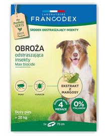 FRANCODEX Antkaklis nuo vabzdžių dideliems šunims, sveriantiems daugiau nei 20 kg, - 4 mėnesių apsauga, 75 cm