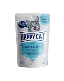 HAPPY CAT Meat in sauce Adult Huhn & Forelle 85 g vištiena ir upėtakis padaže