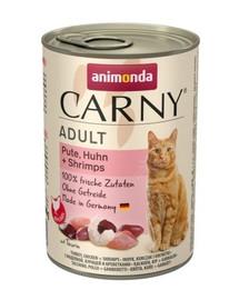 ANIMONDA Carny Adult katėms su kalakutiena, vištiena ir krevetėmis 400g