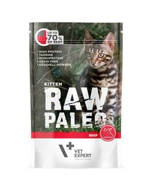 VETEXPERT RAW PALEO Kitten beef 100 g šlapias maistas kačiukams - jautiena