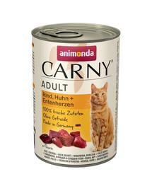 Animonda Carny Adult su jautiena, vištiena ir ančių širdimis 400 g