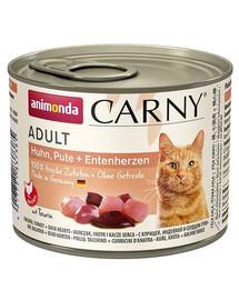 ANIMONDA Carny Adult katėms su vištiena, kalakutiena ir ančių širdelėmis 200 g