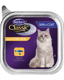 BUTCHER'S Classic Skin&Coat Cat  su vištienos paštetu 100 g