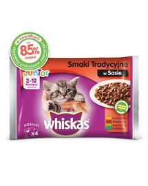 WHISKAS Junior Flavors Traditional paketėlis 52x100g - šlapias maistas katėms padaže (vištiena, jautiena, ėriena, triušiena)