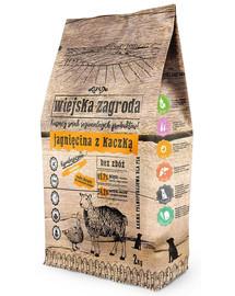 WIEJSKA ZAGRODA Maistas mažų ir vidutinių veislių šunims, ėriena ir antis,  2 kg