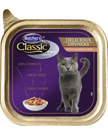 BUTCHER'S Classic Delicious Dinner Cat su lašišos ir krapais gabaliukai padaže 100 g