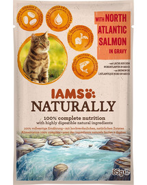 IAMS Naturally Senior Cat with North Atlantic Salmon in Gravy 85 g