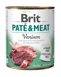 BRIT Pate & meat venison 800 g šlapias su elniena maistas šunims