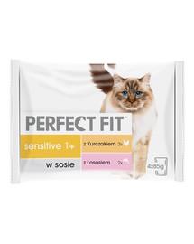 PERFECT FIT Sensitive 1+ Šlapių kačių ėdalo pakeliai su vištiena ir lašiša  4*85 g