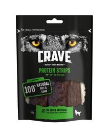 CRAVE Šunų be grūdų skanėstas jautienos ir ėrienos papildomas maistas suaugusiesiems šunims 55 g